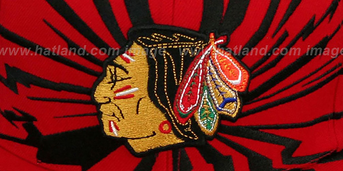 Blackhawks 'EARTHQUAKE SNAPBACK' Red Hat by Mitchell & Ness