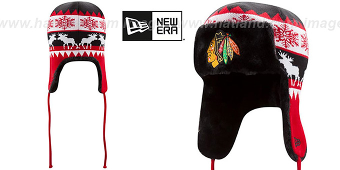 Blackhawks 'MOOSER TRAPPER' Black-Red Knit Hat by New Era