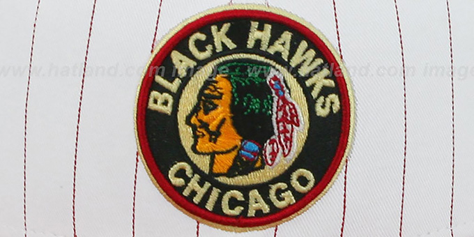 Blackhawks 'PINSTRIPE BITD SNAPBACK' White-Red Hat by New Era