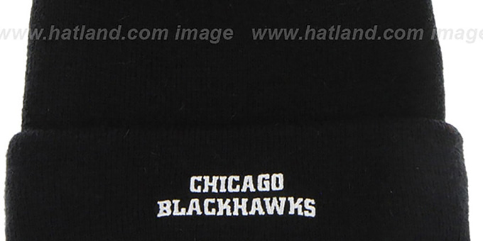 Blackhawks 'POMPOM CUFF' Black Knit Beanie Hat by Twins 47 Brand