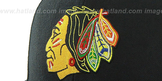 Blackhawks 'SURE-SHOT SNAPBACK' Black Hat by Twins 47 Brand