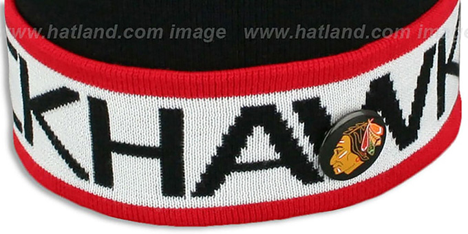 Blackhawks 'THE-BUTTON' Knit Beanie Hat by Michell & Ness