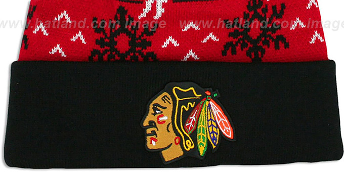 Blackhawks 'UGLY SWEATER' Black-Red Knit Beanie Hat by Zephyr