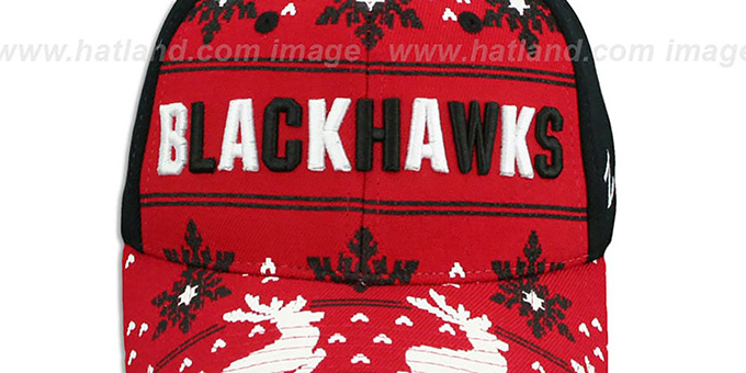 Blackhawks 'UGLY SWEATER FLEX' Black-Red Hat by Zephyr