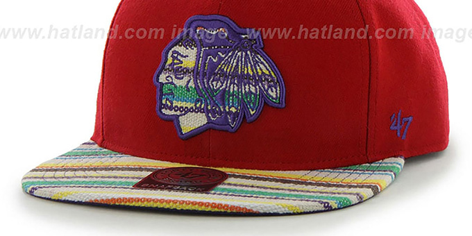 Blackhawks 'WARCHILD SNAPBACK' Red Hat by Twins 47 Brand