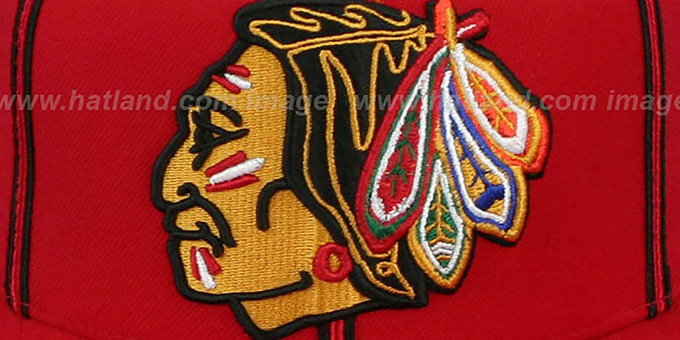 Blackhawks 'XL-LOGO SOUTACHE SNAPBACK' Red Adjustable Hat by Mitchell & Ness