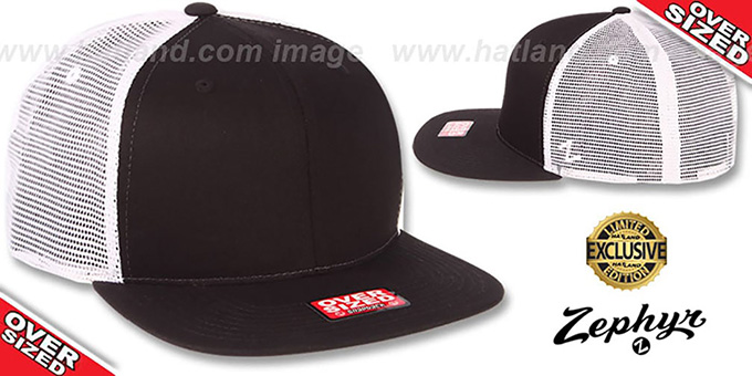 Blank 'OVER-SIZED MESH-BACK SNAPBACK' Black-White Hat by Zephyr