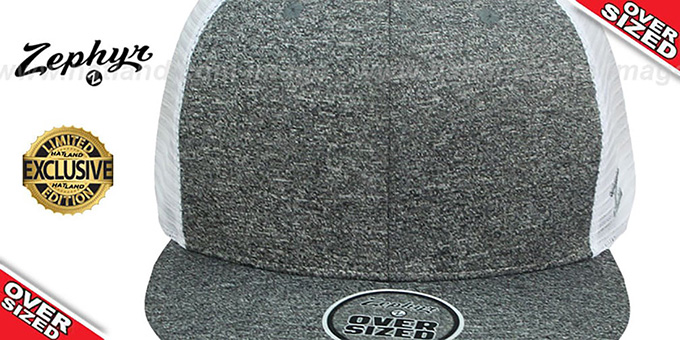 Blank 'OVER-SIZED MESH-BACK SNAPBACK' Heather Charcoal-White Hat by Zephyr