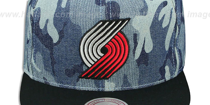 Blazers 'DENIM-CAMO SNAPBACK' Blue Hat by Mitchell and Ness