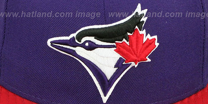 Blue Jays '2T OPPOSITE-TEAM' Purple-Red Fitted Hat by New Era