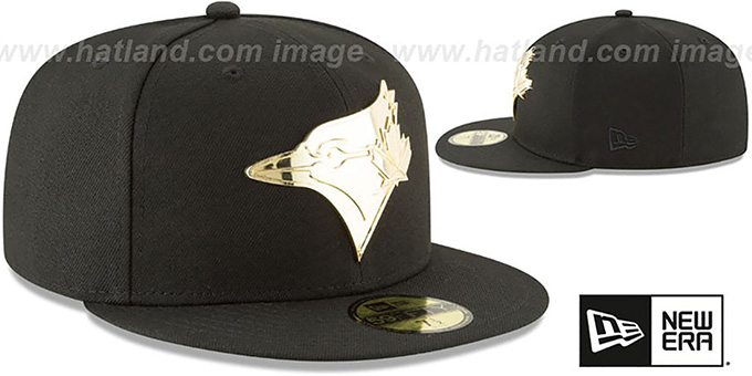 Blue Jays 'GOLDEN-BADGE' Black Fitted Hat by New Era