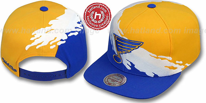 Blues 'PAINTBRUSH SNAPBACK' Gold-White-Royal Hat by Mitchell & Ness