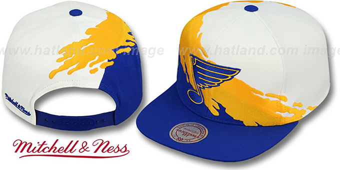 Blues 'PAINTBRUSH SNAPBACK' White-Gold-Royal Hat by Mitchell and Ness