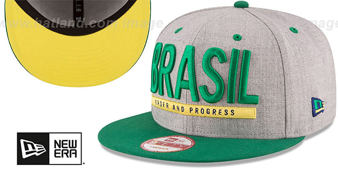Brasil 'FLAG PHRASE SNAPBACK' Grey-Green Hat by New Era