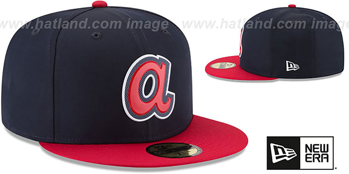 Braves '2018 PROLIGHT-BP' ROAD Navy-Red Fitted Hat by New Era