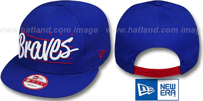 Braves COOP 'SCRIPTLINER SNAPBACK' Royal Adjustable Hat by New Era