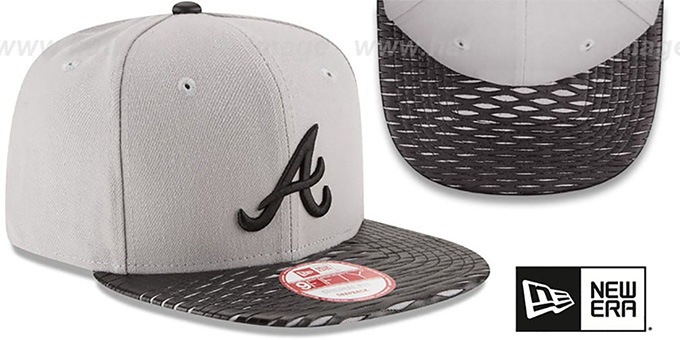 Braves 'LEATHER-RIP SNAPBACK' Grey-Black Hat by New Era