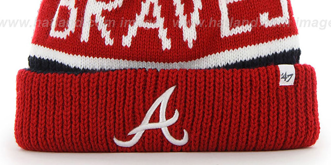 Braves 'THE-CALGARY' Red-Navy Knit Beanie Hat by Twins 47 Brand