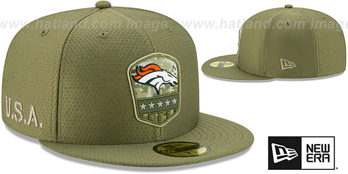 Broncos '2019 SALUTE-TO-SERVICE' Olive Fitted Hat by New Era