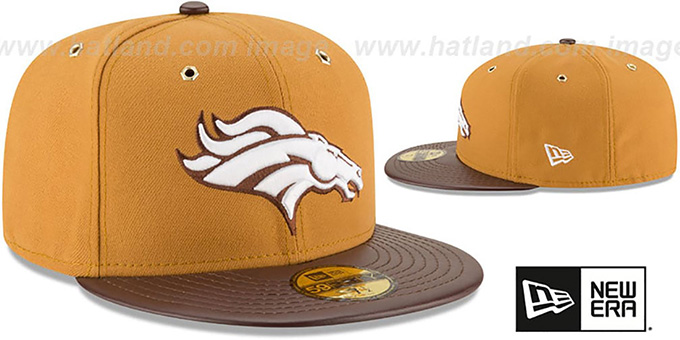 Broncos 'METAL HOOK' Wheat-Brown Fitted Hat by New Era