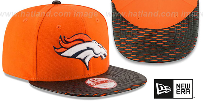 ... Broncos  NFL LEATHER-RIP SNAPBACK  Orange-Black Hat by New Era ... 32209b0bc