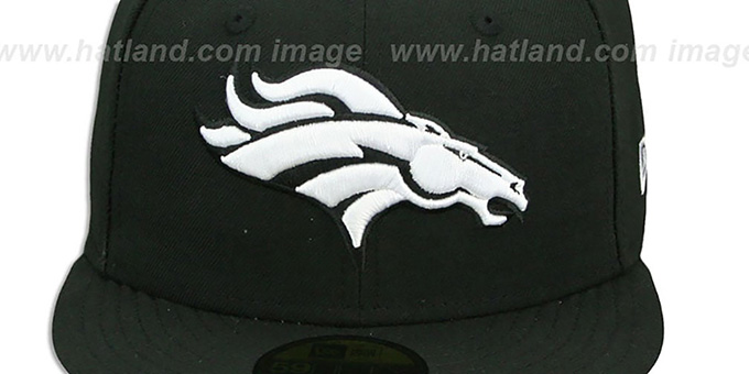 Broncos 'NFL TEAM-BASIC' Black-White Fitted Hat by New Era