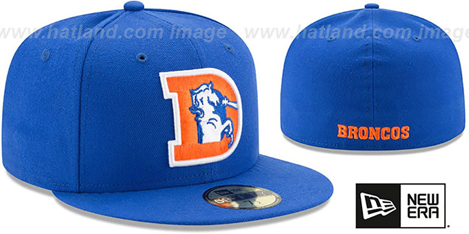 Broncos 'NFL THROWBACK TEAM-BASIC' Royal Fitted Hat by New Era