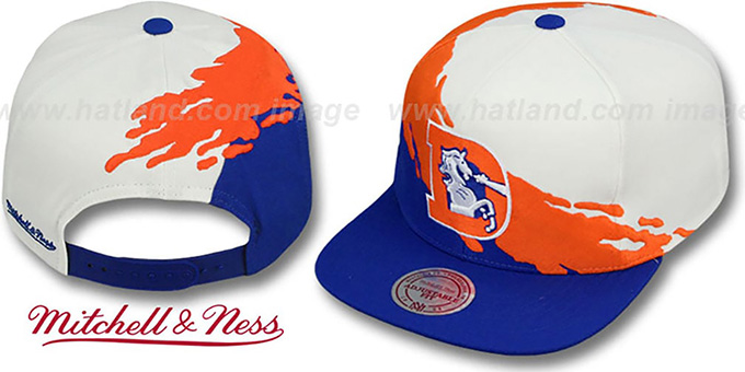 Broncos 'PAINTBRUSH SNAPBACK' White-Orange-Royal Hat by Mitchell & Ness