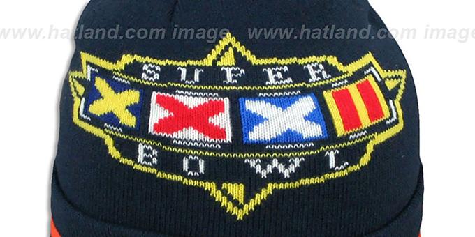 645e5af6f ... Broncos  SUPER BOWL XXXII  Navy Knit Beanie Hat by New Era ...