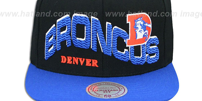 Broncos 'THE-WAVE SNAPBACK' Black-Royal Hat by Mitchell and Ness