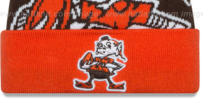 Browns 'LOGO WHIZ' Brown-Orange Knit Beanie Hat by New Era