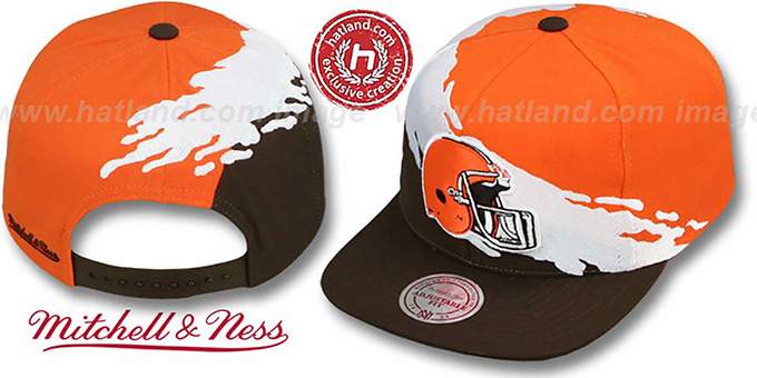 Browns 'PAINTBRUSH SNAPBACK' Orange-White-Brown Hat by Mitchell & Ness