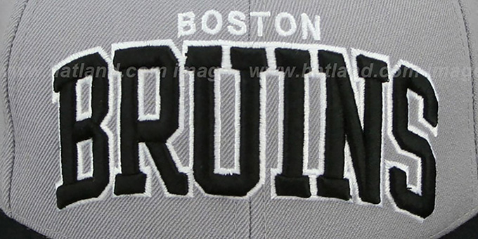 Bruins '2T XL-WORDMARK' Grey-Black Fitted Hat by Mitchell & Ness