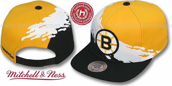 71913189928 ... Bruins  PAINTBRUSH SNAPBACK  Gold-White-Black Hat by Mitchell   Ness ...