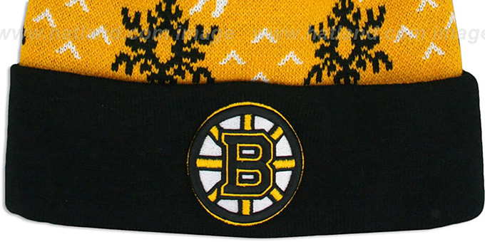 Bruins 'UGLY SWEATER' Black-Gold Knit Beanie Hat by Zephyr