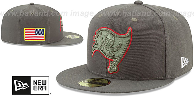 ... Buccaneers  2017 SALUTE-TO-SERVICE  Green Fitted Hat by New Era ... 7f3df268a8a