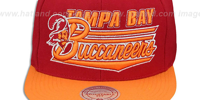 1fe9e99d599ec ... Buccaneers  TAILSWEEP SNAPBACK  Red-Orange Hat by Mitchell and Ness ...