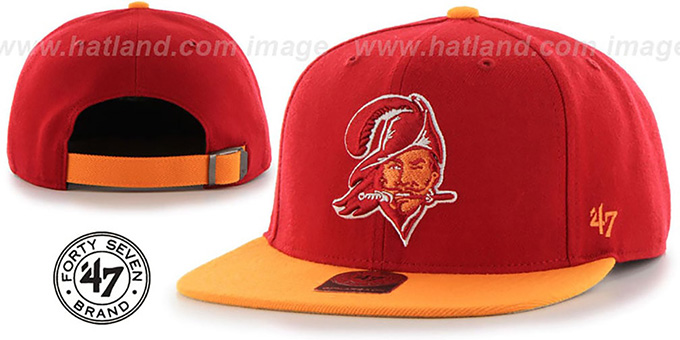 Buccaneers 'THROWBACK SUPER-SHOT STRAPBACK' Red-Orange Hat by Twins 47 Brand