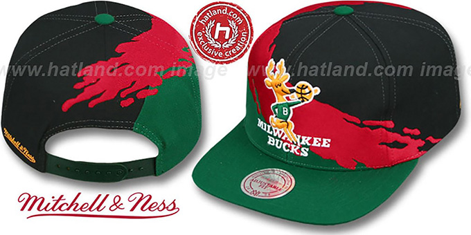 Bucks 'PAINTBRUSH SNAPBACK' Black-Red-Green Hat by Mitchell & Ness