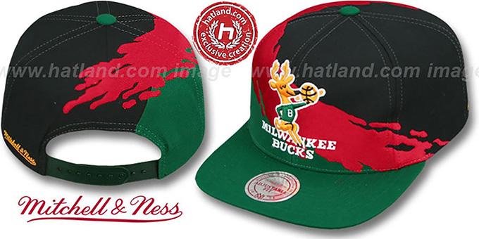 ... Bucks  PAINTBRUSH SNAPBACK  Black-Red-Green Hat by Mitchell   Ness ... c2548fd99fb