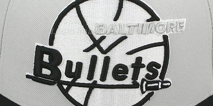 Bullets 'MONOCHROME XL-LOGO' Grey-Black Fitted Hat by Mitchell & Ness