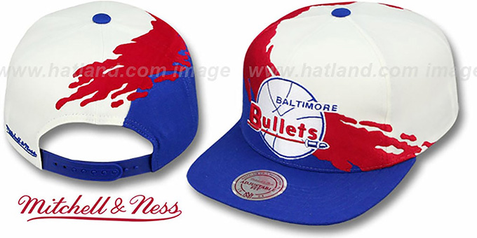Bullets 'PAINTBRUSH SNAPBACK' White-Red-Royal Hat by Mitchell and Ness