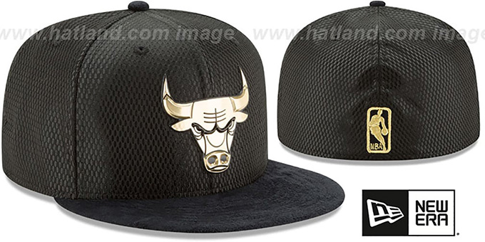 Bulls '2017 ONCOURT' Black-Gold Fitted Hat by New Era