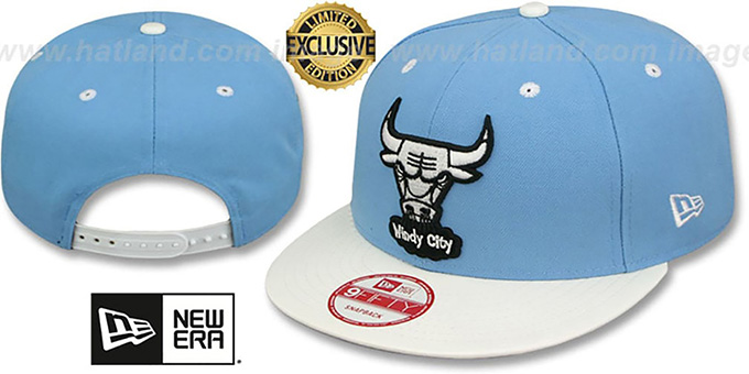 Bulls 6X 'BANNER SIDE-PATCH SNAPBACK' Sky-White Hat by New Era