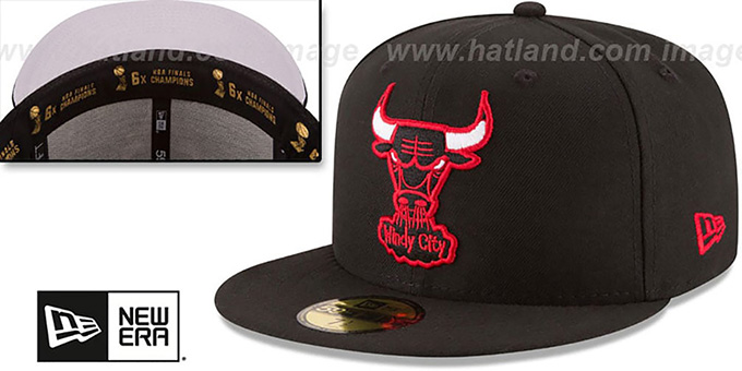 Bulls 6X 'TITLES SIDE-PATCH' Black Fitted Hat by New Era