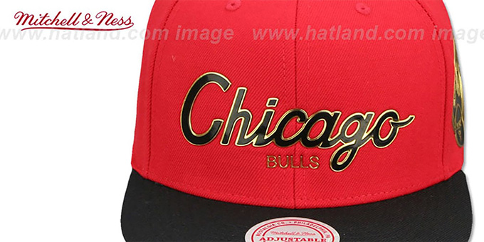 00db82761bfa4 ... Bulls  CITY CHAMPS SCRIPT SNAPBACK  Red-Black Hat by Mitchell and Ness  ...