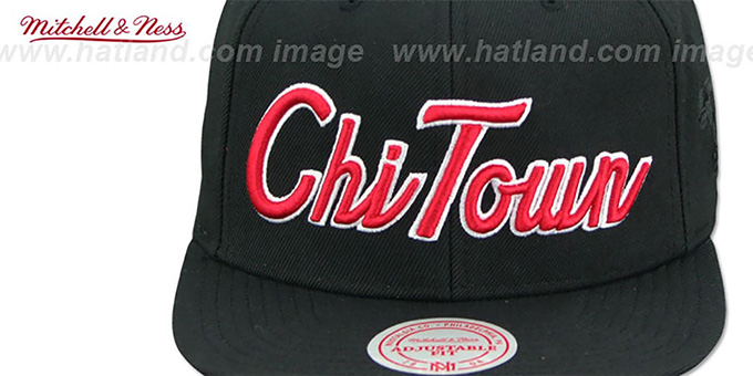 Bulls 'CITY NICKNAME SCRIPT SNAPBACK' Black Hat by Mitchell and Ness