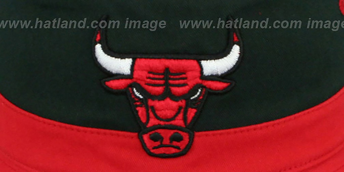 5d971f18b1e ... Bulls  COLOR-BLOCK BUCKET  White-Black-Red Hat by Mitchell and ...