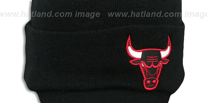 Bulls 'CUFFED-VISOR KNIT BEANIE' Black Hat by Mitchell and Ness