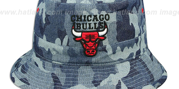 Bulls 'DENIM-CAMO BUCKET' Blue Hat by Mitchell and Ness
